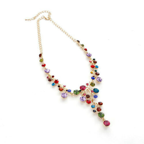 Women Fashion Crystal Collar Choker Chunky Chain Bib Pendant Statement Necklace