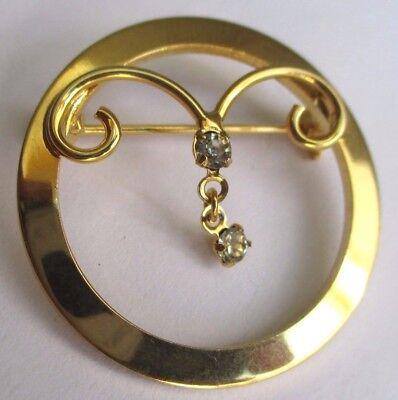 Broche Ancien Bijou Vintage Couleur Or Solitaire Cristal Diamant Superbe 3107