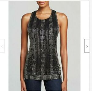 NWT-330-M-ALICE-OLIVIA-039-Brie-039-Embellished-Beaded-T-Back-Top-Tank-Blouse-Black