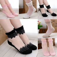 Summer Lady Women Ultra thin Transparent Crystal Lace Elastic Short Socks 1 Pair