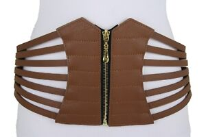 b0bb98331f3 Women Hip Waist Wide Brown Western Fashion Cinch Faux Leather Corset ...