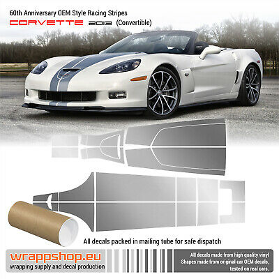 2006-2013 C6  Chevy Corvette Hood Racing Stripes Decals Graphics Style 3
