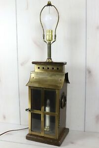 Vintage-Wood-Brass-1970s-MCM-Table-Lamp-Carriage-House-Lantern-Unique-Handmade