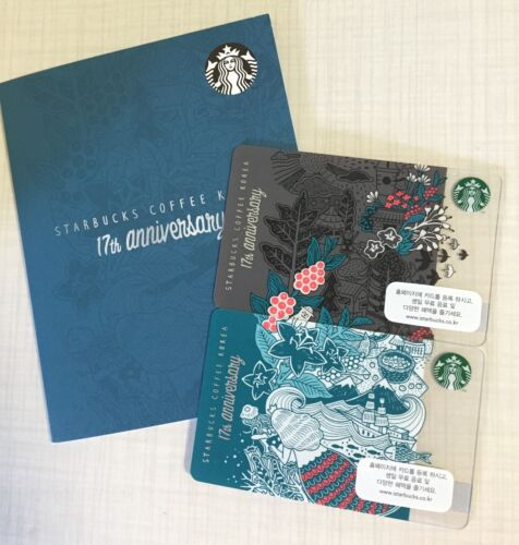 Starbucks Korea 2016 17th Anniversary Grey /& Blue Card Set with Matching Sleeve