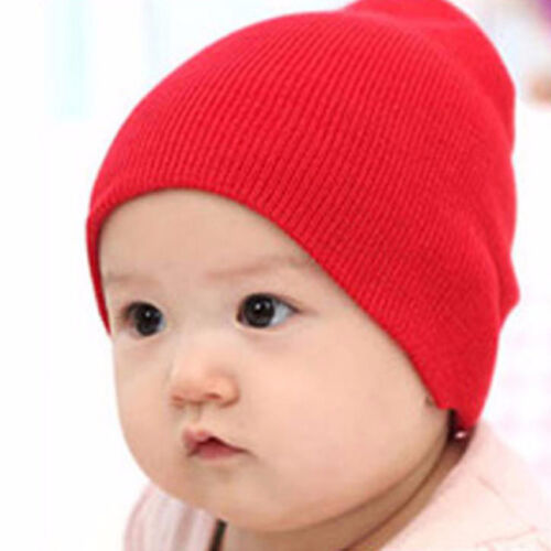 New Arrival Baby Cute Cap Beanie Candy Solid Color Knit Wool Crochet Slouch Hats