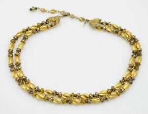 Crown-Trifari-Gold-Metal-Glass-Bead-Beaded-Choker-Necklace-Vintage