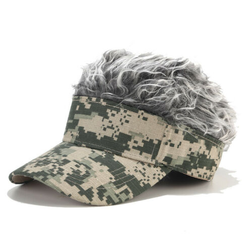 UK Camouflage Baseball Wig Hat Peaked Cap Toupee Vogue Outdoor Men Adult 6 Color