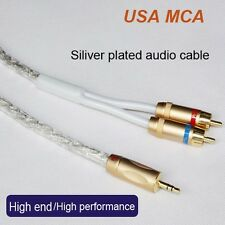 6FT Original MCA Silver Plated Stereo 3.5mm Male to 2RCA Male Audio Cable,Hi-Fi