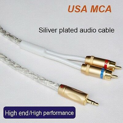 1.5ft MCA Silver Plated Stereo 3.5mm Male to 2RCA Audio Cable Hi-Fi Audiophile