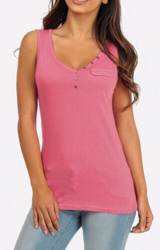 PINK CORAL POCKET MILITARY HENLEY BASIC SUMMER PREPPY TANK TOP LOW CUT RELAXED