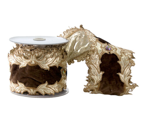 "Katherine/'s Collection 4/"" x 5Y Mocha Velvet Scroll Ribbon 08-68234 $59.99"