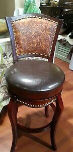 Western Hand Tooled Leather Swivel Barstool Set Of 3 Barstools