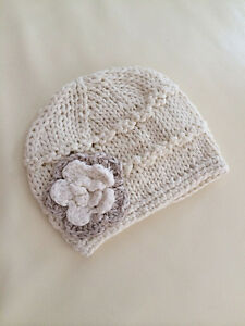 NEW-Newborn-Baby-Girl-Crochet-Knit-Cotton-Flower-Beanie-ivory