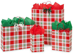 CHRISTMAS-PLAID-Design-Print-Party-Gift-Bag-Only-Choose-Size-amp-Package-Amount
