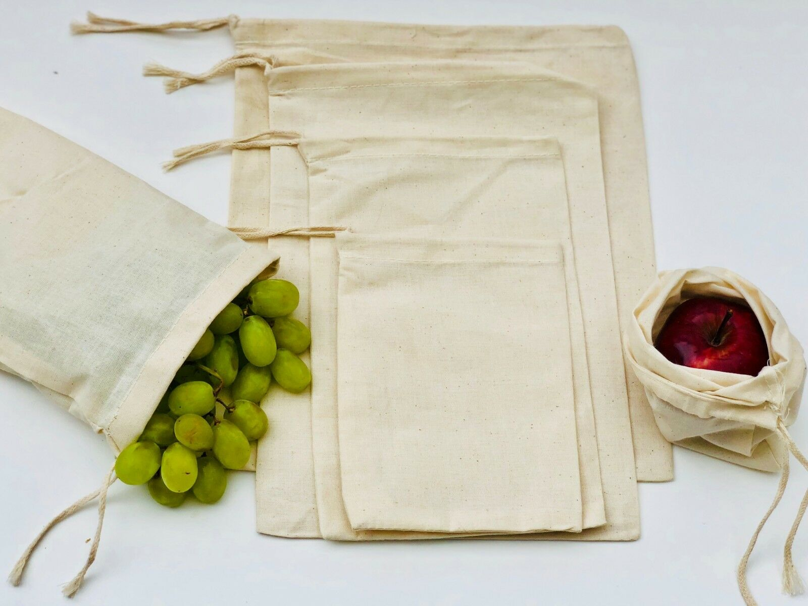 8x10 Inches Muslin Bags with Single Drawstring. 100% 100% 100% Organic Cotton - Select Qty 2015bf