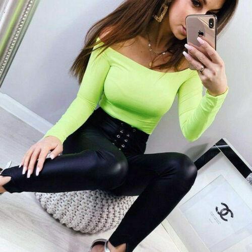 Damen Body Damentop Bodie Bodysuit Bluse Schulterfrei Bodytop Overall Neon XS-M