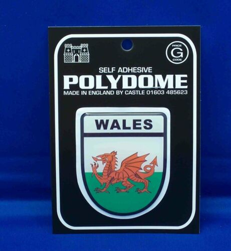 Wales Shield Polydome Raised Badge Sticker PD31