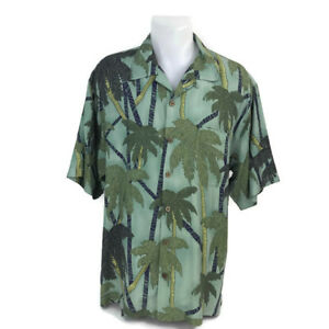 Tommy-Bahama-Men-039-s-Aloha-Hawaiian-Shirt-Green-Tropical-Palm-Trees-Size-Large