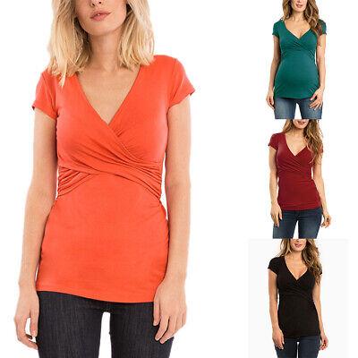 Women Pregnant Maternity V-neck Tops Casual Nursing Breastfeeding T Shirt Blouse