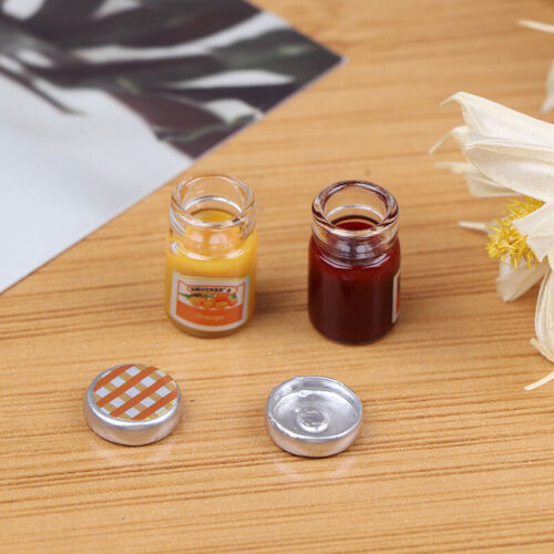 2PCS 1:12 Dollhouse Miniature Food Mini Strawberry Sauce Jam Honey Food to FLA