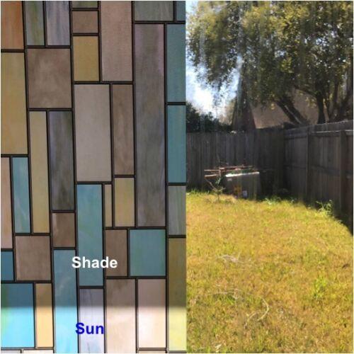 Rockrose Privacy Window Film Colorful Bricks Non-adhesive Anti UV stained Glass