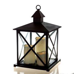 Große Outdoor Laterne Mit Fernbedienung 3 Led Kerzen 4 Und 8 Std Timer 36 Cm Ebay