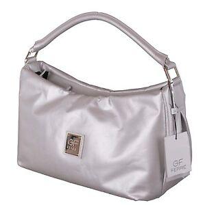 Gian-Franco-Ferre-Damen-Handtasche-Tasche-Leder-Silber-X190