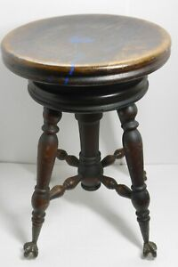 Antique Victorian Adjustable Height Piano Stool Glass Claw Feet Original Finish