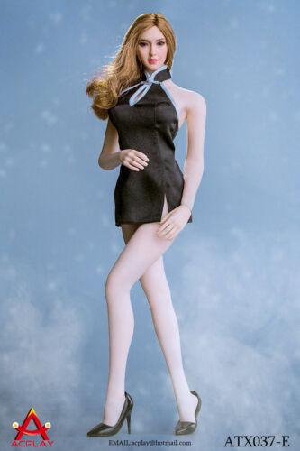 ACPLAY 1//6 Black Mini Cheongsam /& High Heel Set for Figure #AP-ATX037E