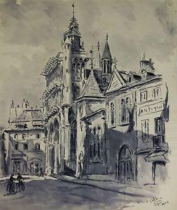 RUE DE PARIS. AQUARELLE SUR PAPIER. A. GUERIN. FRANCE. CIRCA 1940.