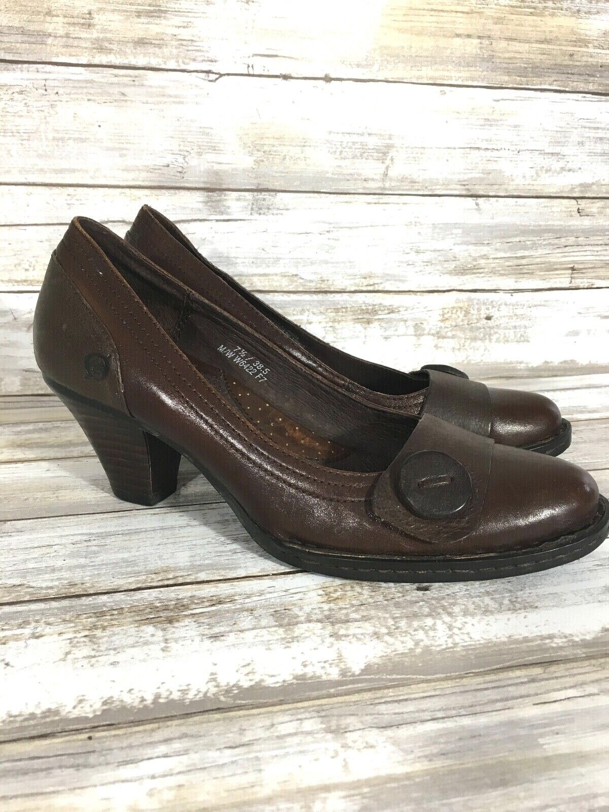 Women's Born Brown Leather Pumps Mid Heels shoes 7.5