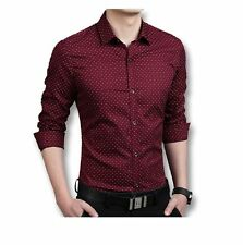 Popular Men's Dot Print Shirt - Maroon
