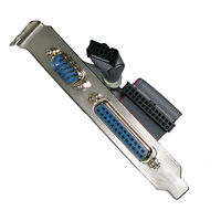 Serial RS232 DB9 Male + Parallel DB25 Female COM Port w/ Cable & Bracket