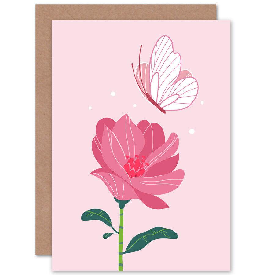 Butterfly,Bird /& Flowers Blank Card