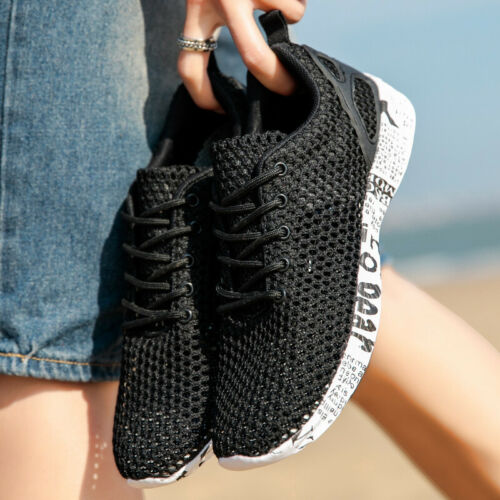 Men/'s Black Mesh Lace-up Lightweight Fashion Sneakers Water Shoes Beach Black