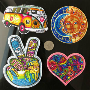 4Pc-Hippie-Love-Bus-Flowers-peace-Patch-60s-Art-Embroidered-Iron-Sew-on-Applique