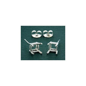 ( 6mm - 11mm ) Square Octo Solid Sterling Silver Cast Wire Earring Settings
