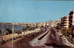 Bombay-Mumbai-Indien-Postkarte-1950-60-Marine-Drive-Blick-auf-die-Uferstrasse
