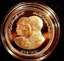 IRAN, PERSIA, REZA SHAH & M. R. PAHLAVI USA 2003(1382) MEDAL Unc.24k Gold Plated