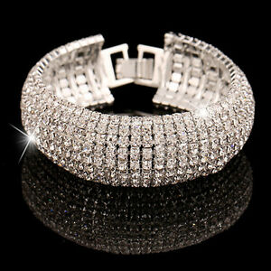 New-Charming-Fashion-Crystal-Women-Silver-Plated-Bangle-Bracelet-Gift-Jewelry