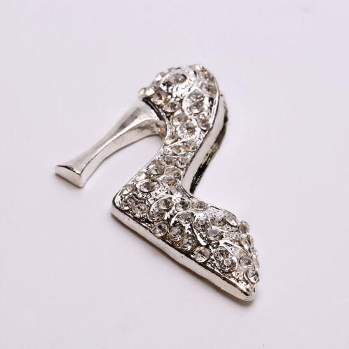 5x Alloy High-heeled Shoe Flatback Crystal Embellishments DIY Brooches Craft