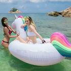 New 108'' rainbow Inflatable Unicorn Floats Pool Water  Raft Summer Holiday gift