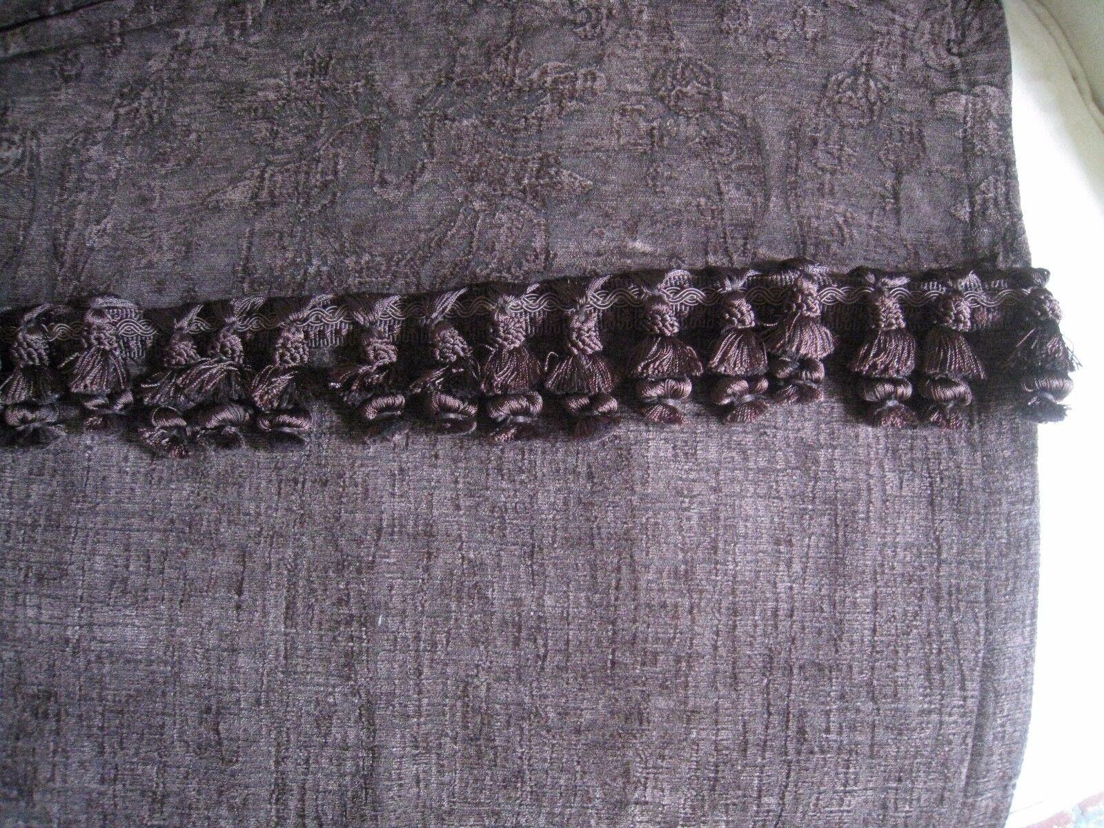 Terciopelo trapunto profundo marrón oscuro flecos cortinas (par)  22