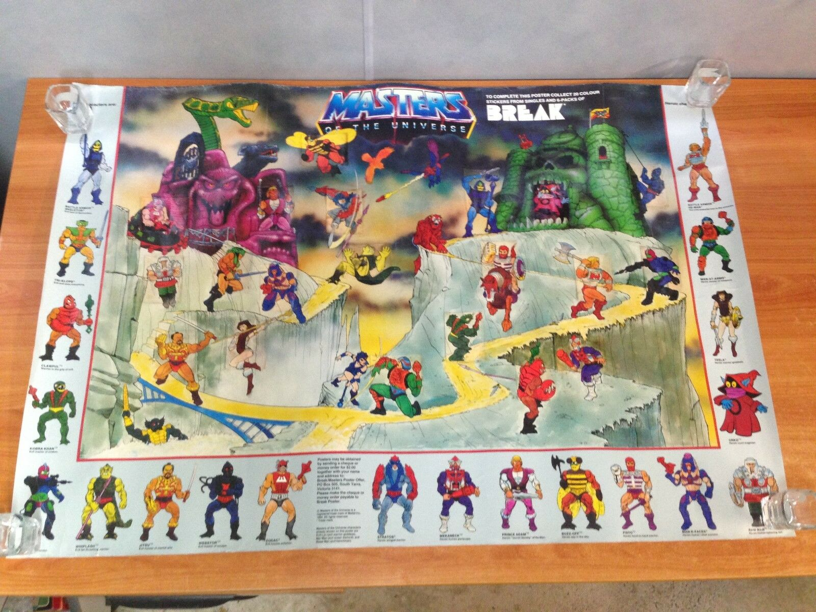Rare Rare Rare Vintage 1984 Masters of the Universe completare Break Drink Poster No 2 122c00