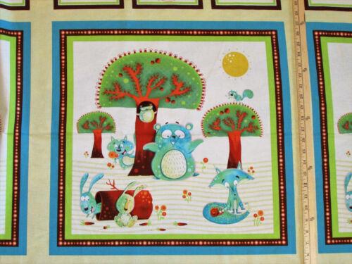 "Woodsy Wonders Owl Fox Bear Henry Glass Baby Fabric 23/"" Panel #1000P"