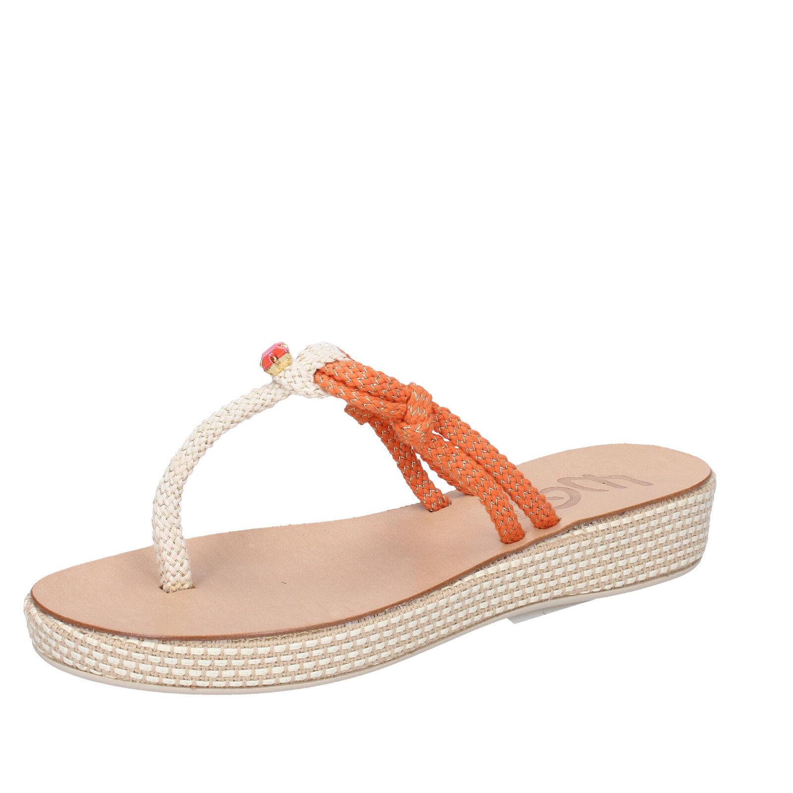 scarpe donna bianco EDDY DANIELE 37 EU sandali bianco donna arancione corda AW672 7528ea