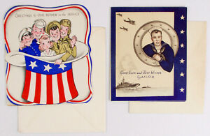 2-1940s-WWII-Greeting-Cards-NOS-Unused-NAVY-SAILOR-Military-Army-JP-O-3202-Vtg