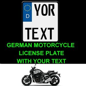 Customized Motorcycle Motorbike Personalized European Euro License