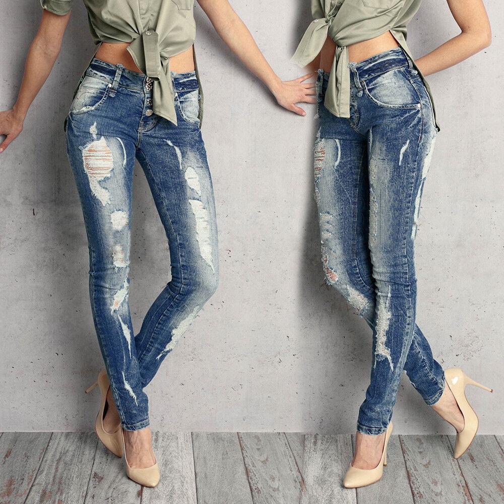 BY ALINA Damenjeans Jeans Hose Damenhose Sexy Röhrenjeans Hüftjeans 32-36  B80