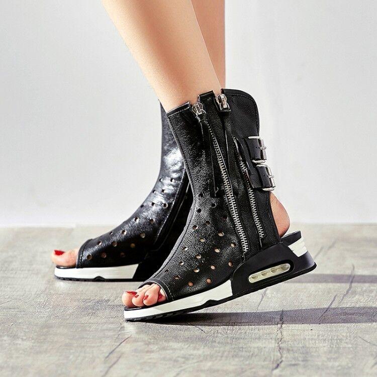 Punk Femme Rétro PU Cuir Bout Ouvert Sandales démarrage zip Gladiator Roma Chaussures NOUVEAU